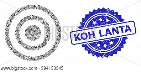 Vector Fractal Collage Concentric Circles, And Koh Lanta Rubber Stamp Seal. Blue Stamp Seal Contains