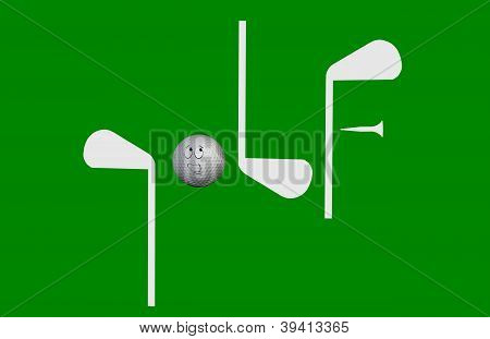3D Golf Spelled Out With Golf Clubs