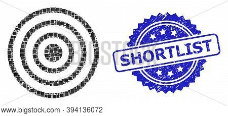 Square Dot Mosaic Concentric Circles And Shortlist Unclean Stamp Seal. Blue Seal Includes Shortlist