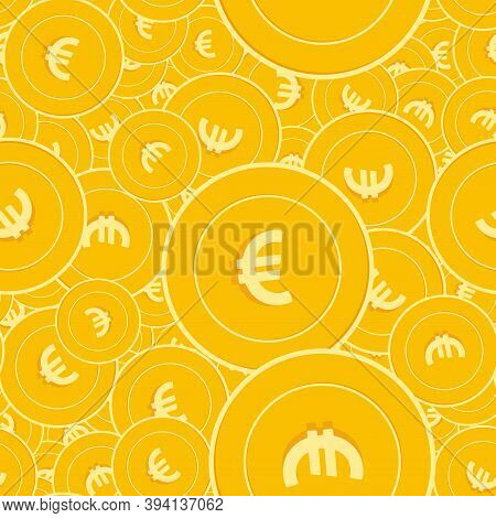 European Union Euro Coins Seamless Pattern. Actual Scattered Eur Coins. Big Win Or Success Concept.