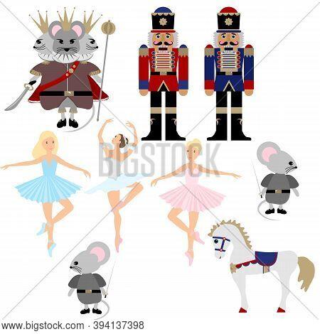 Nutcracker Ballet Christmas Collection. A Set Of Vector Elements. Ballerina, Mouse King, Horse