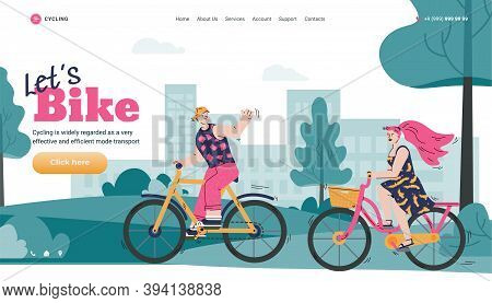 Web Page Template With Romantic Couple Cycling In City, Cartoon Flat Vector Illustration. Organizati