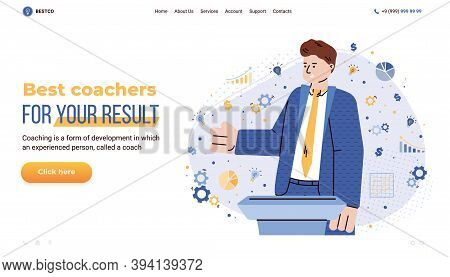 Business Training And Coaching Services Website Template With Cartoon Character Of Business Trainer,