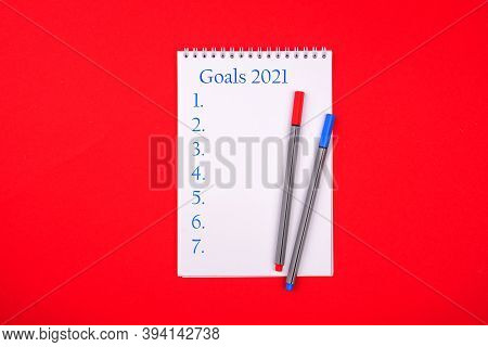 New Year Resolution Goal List 2021 - Notebook Written In Handwriting About Plan Listing Of New Year
