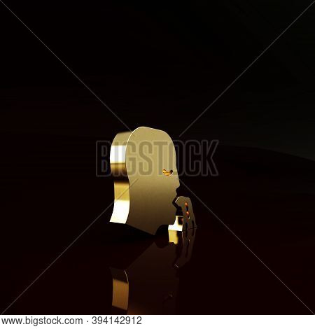Gold Vomiting Man Icon Isolated On Brown Background. Symptom Of Disease, Problem With Health. Nausea