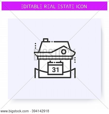 Year Built House Line Icon. New Building. Buying A Modern, New Apartment. Real Estate Agency, Housin