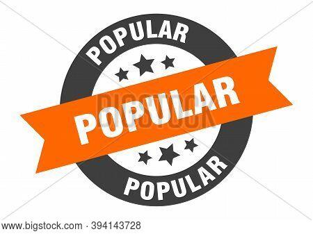 Popular Sign. Popular Orange-black Round Ribbon Sticker