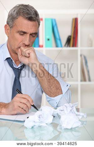 Man with writer's block