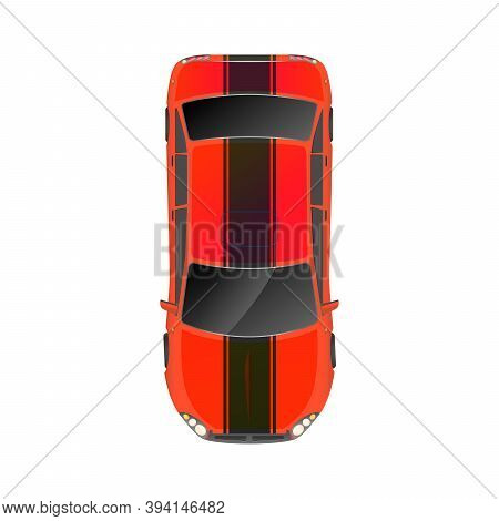 Top View Of Realistic Glossy Red Sport Car On White
