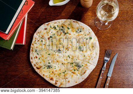 Flatbread With Greens And Herbs. Traditional Caucasus And Turkish Bread. Asian Flatbreads With Chees