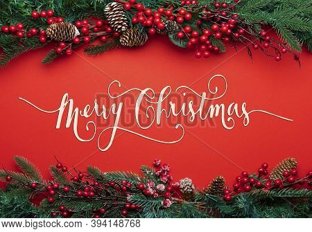 Text Merry Christmas On Red Background. Beautiful Celebratory Christmas Background. New Years Holida