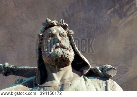 Close Up Of The Wilhelm Tell (english William Tell) Statue Of The Tell Monument Located In Altdorf I