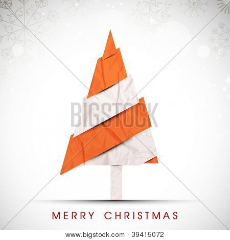 Stylized Christmas tree. Greeting card, gift card or invitation card for Merry Christmas. EPS 10. poster