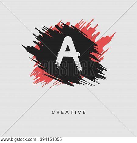 Hand Drawn Letter A Logo On Colorful Brush Strokes Background. Initial White Paint Brush Stroke Lett