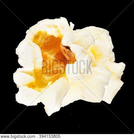 Popcorn Close Up, Macrophotography Of Snack On Black Background