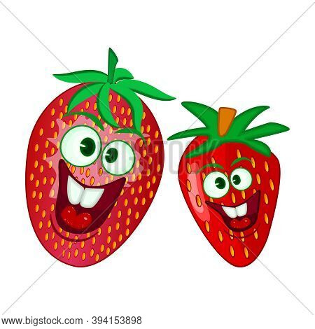 Cute Comic Strawberry Isolated On White Background. Cartoon Fruits With Funny Face. Summer Fruit Or