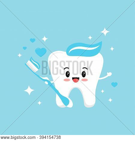 Cute Tooth Boy In Love With Blue Toothbrush With Paste Hearts And Sparkles. Flat Design Cartoon Swee