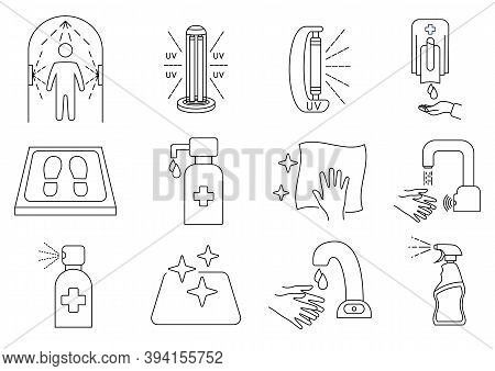 Disinfection Line Icons. Cleaning And Sanitizer Surface, Spray Bottle, Wash Hand Gel, Uv Lamp, Sanit