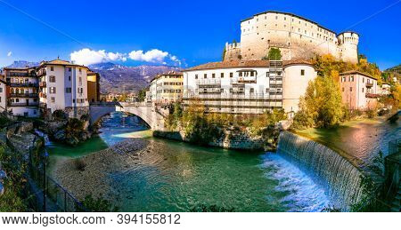 Rovereto - beautiful historic town in Trentino-Alto Adige Region of Italy. View with medieval castle and bridge