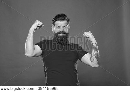 Work At Gym. Who Is Cool. Strong Hipster Muscular Arms Red Background. Physical Strength. Strong Bic
