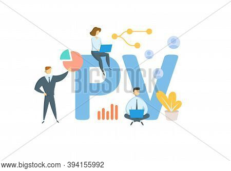 Pv, Present Value. Concept With Keywords, People And Icons. Flat Vector Illustration. Isolated On Wh