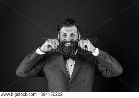 Few Grooming Life Hacks Help Achieve Great Look, Whatever Occasion. Well Groomed Man Beard In Suit.