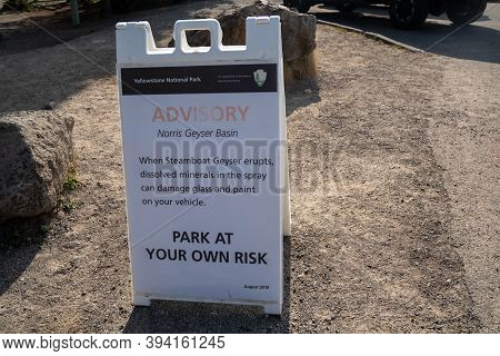 Wyoming, Usa - September 23, 2020: Sign Warning Tourists Of The Dangers Of Parking Near Steamboat Ge