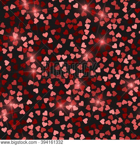 Glitter Seamless Texture. Actual Red Particles. Endless Pattern Made Of Sparkling Hearts. Splendid A