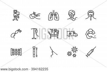 Artificial Lung Ventilation Flat Line Icons Set. Vector Illustration Coronovirus Test And Medical Eq