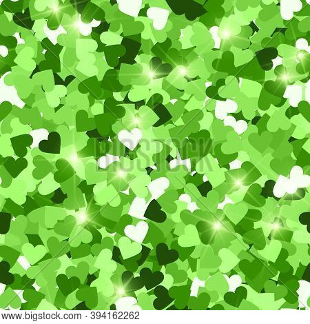 Glitter Seamless Texture. Actual Green Particles. Endless Pattern Made Of Sparkling Hearts. Nice Abs