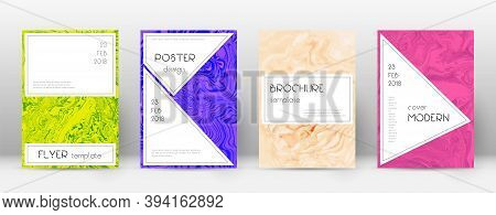 Abstract Cover. Alluring Design Template. Suminagashi Marble Stylish Poster. Alluring Trendy Abstrac