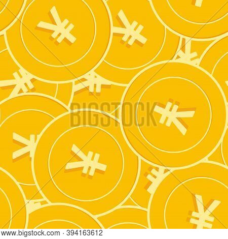 Chinese Yuan Coins Seamless Pattern. Imaginative Scattered Cny Coins. Big Win Or Success Concept. Ch