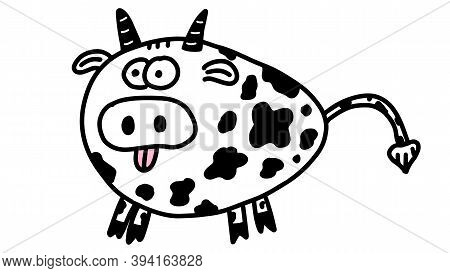 Year Of The Bull 2021. Cute Funny Doodle Cow. Year Of Ox.cartoon Bull. New Year's And Christmas Illu