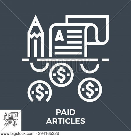 Paid Articles Thin Line Vector Icon Isolated On The Black Background.