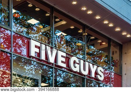 Paris, France - August 29, 2019 : The Brand Five Guys Located On The Champs Elysees In Paris. Five G