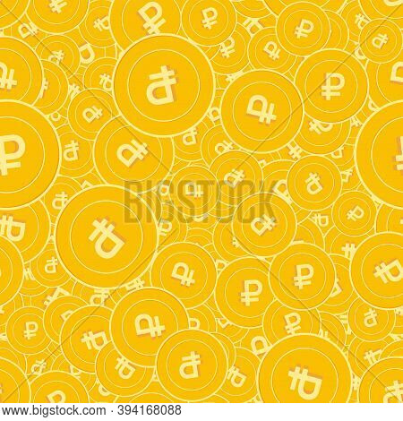 Russian Ruble Coins Seamless Pattern. Dramatic Scattered Rub Coins. Big Win Or Success Concept. Russ