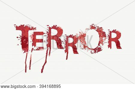 Terror Lettering With Red Scary Letters On A Light Background. Vector Illustration In The Form Of An