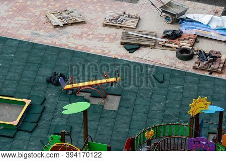 Construction Of A Playground. Playground For Children, Recreation, Landscaping And Beautification. T