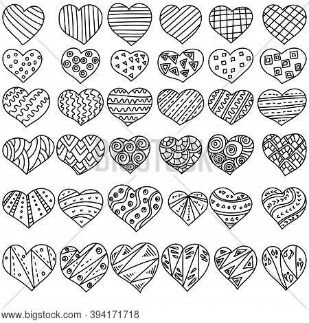 Set Of Contour Doodle Hearts With Simple Linear Zen Patterns, Antistress Coloring Page With Valentin
