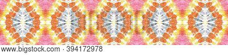 Kaleidoscope Background.  Orange, Pink And Blue Textile Print. Rainbow Natural Ethnic Illustration.