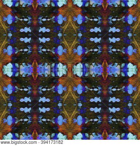 Geometric Painting. Dark Neon Seamless Texture. Seamless Tie Dye Ornament. Ikat Japanese Motif. Abst