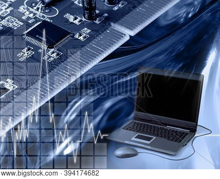 Conceptual photo-illustration. Computers and electronics modern technology concept. Toned in blue color.