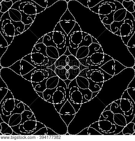 Stitching Style Vintage Arabesque Vector Seamless Pattern. Black And White Embroidery Damask Backgro