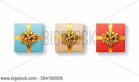 Gift Boxes Set. Gift Box With Shiny Realistic Gold Ribbons And Bow. Top View. Holiday Decoration Ele