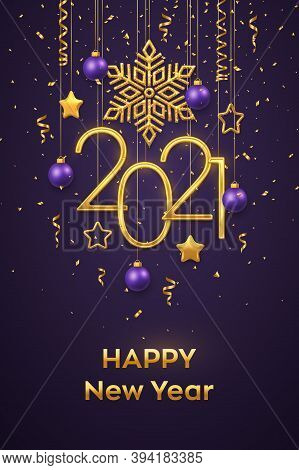 Happy New 2021 Year. Hanging Golden Metallic Numbers 2021 With Shining Snowflake, 3d Metallic Stars,