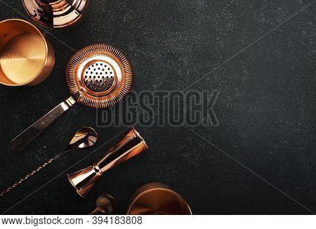 Copper Bar Tools And Bartender Accessories For Making Cocktail. Shaker, Jigger, Strainer, Spoon. Alc