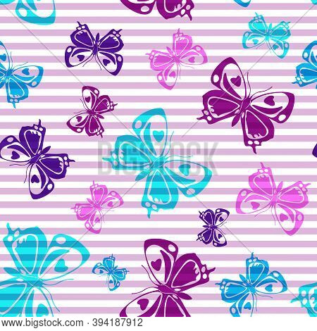 Flying Summer Butterfly Silhouettes Over Horizontal Stripes Vector Seamless Pattern. Kids Fashion Te