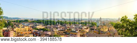 Panorama Of Rome, Italy At Sunrise From The Janiculum Hill Terrace With Trastevere District, Villa M