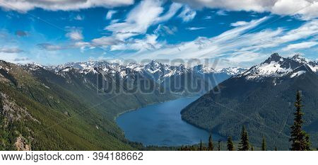 Beautiful Panoramic View Of Canadian Mountain Landscape During A Vibrant Sunny Day. Taken On A Hike