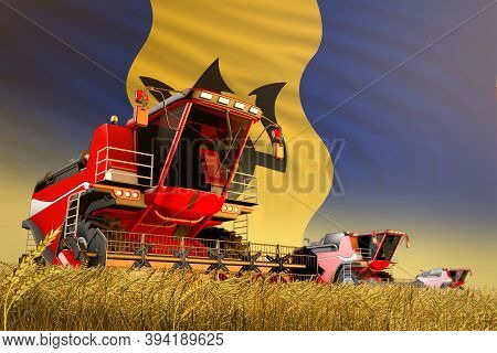 Agricultural Combine Harvester Working On Rye Field With Barbados Flag Background, Food Production C